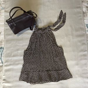 Allison Taylor Polkadot Blouse In Brown and White